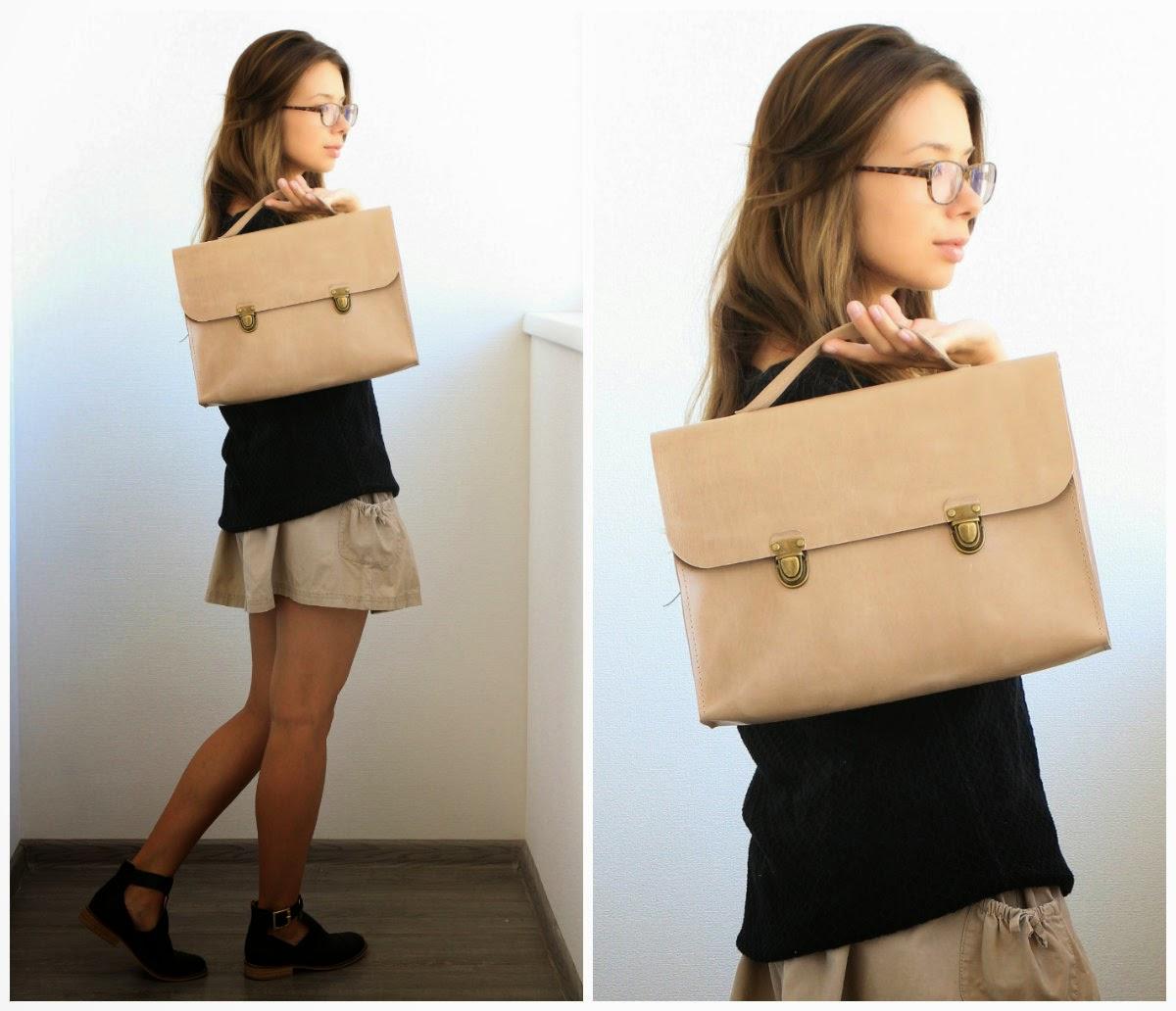 кожаный женский песочный портфель