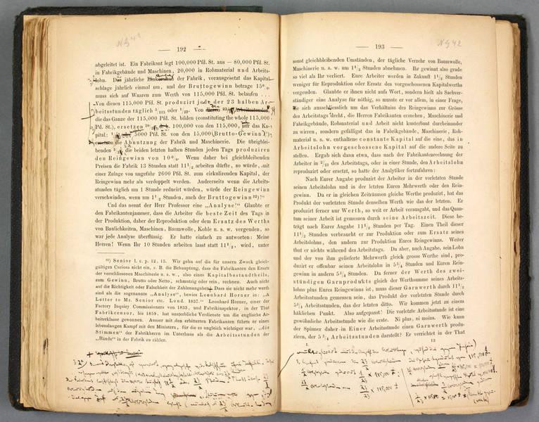 Copia digitalizada de la primera edición de El Capital con correcciones manuscritas de Marx