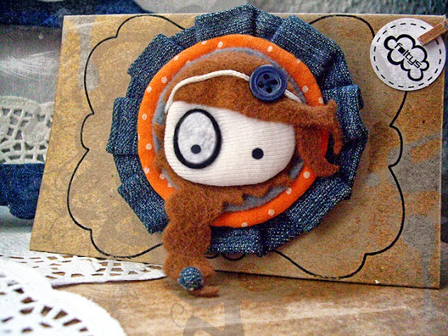 broche original foltys vs denim: orange & packaging-stand (100% handmade with ♥)