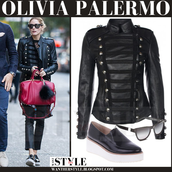 345fcc65b91 Olivia Palermo in black leather boda skins jacket with red bag and black  patent platform sol