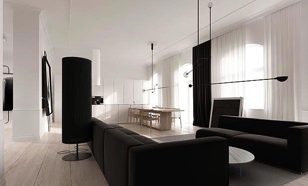 black and white family room den open floor plan apartment modern loft poland