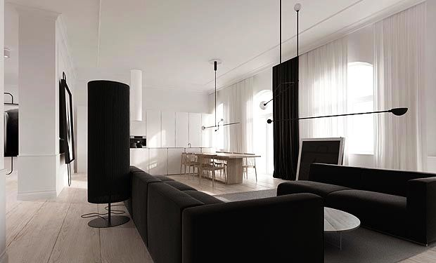 black and white family room den open floor plan apartment modern loft poland