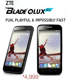 ZTE Blade Qlux 4G Exclusively @ Amazon Cheapest 4G Phone in India worth Rs.5999 for Rs.4999 Only