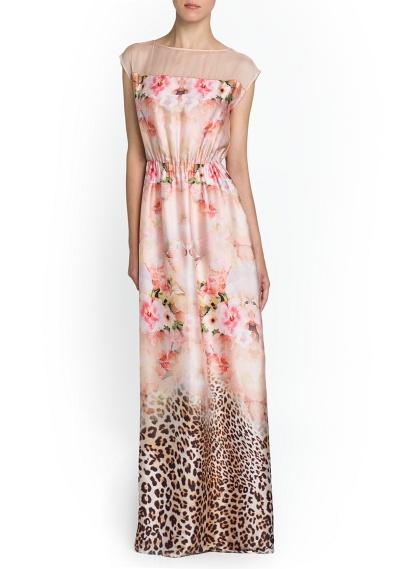 vestido largo de flores y animal print de mango
