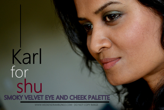 Karl Lagerfeld for shu umera Smoky Velvet Eye Cheek Palette Holiday 2012 Makeup Collection Eyeshadows Blush Indian Beauty Blog Swatches Ingredients Review FOTD Looks