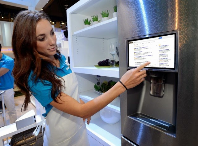smart refrigerator with Google ads