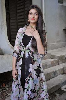 Actress Siya Gautham Picture Gallery in Long Dress at Pilavani Perantam Telugu Movie Opening  20.jpg