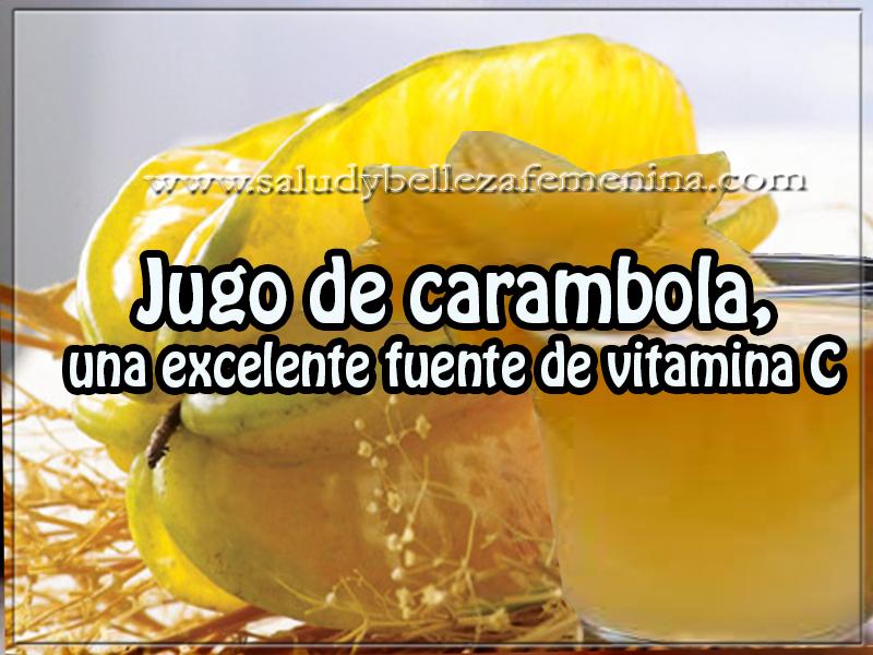 Bebidas saludables , jugo de carambola,  una excelente fuente de vitamina C