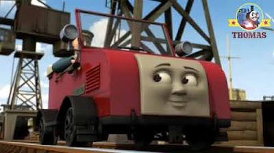 Winston the railcar little red car thinking about the Fat Controller train birthday cake and party