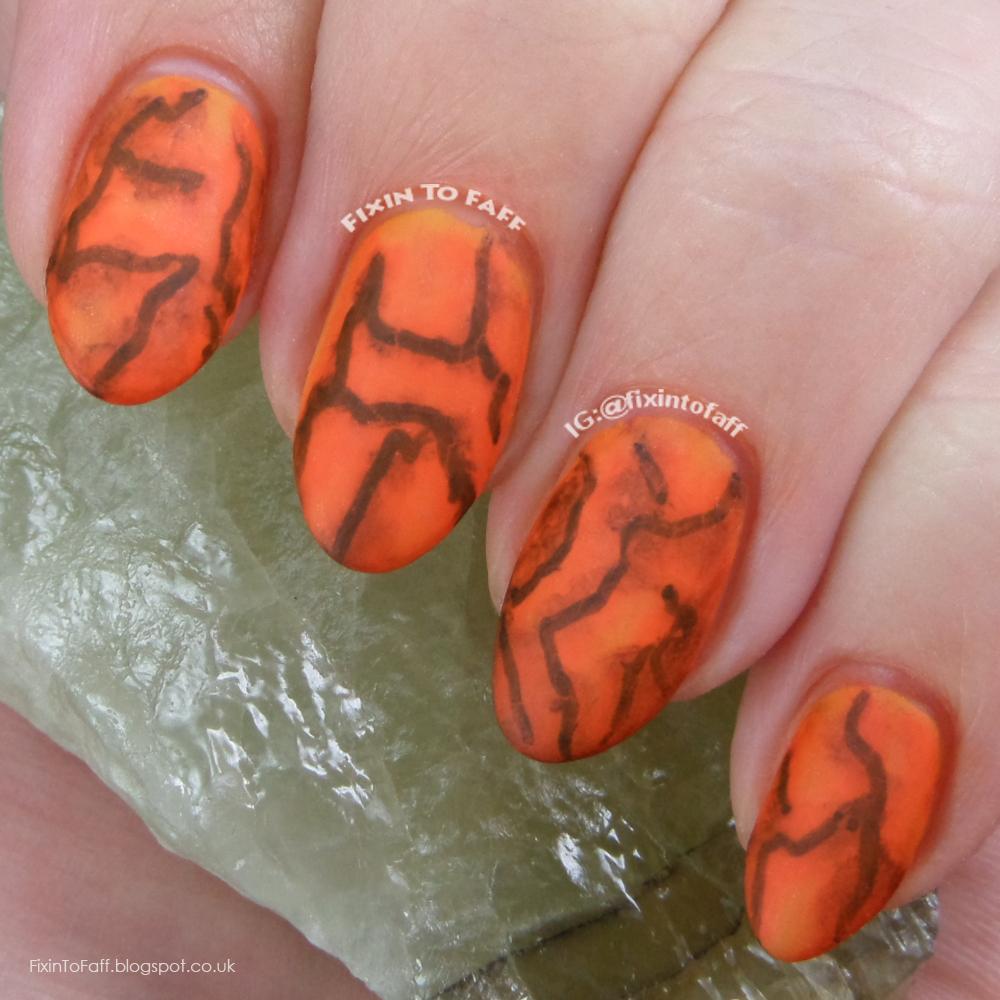 Permanent marker Sharpie marble nail art design.