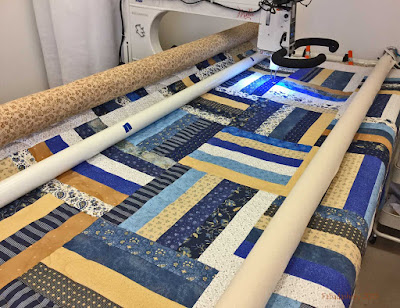 Rail Fence Quilt, November 2015 blue mustard