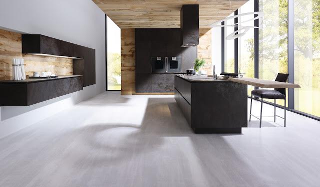 Cuisine design gris anthracite en céramique et sans poignées. Cuisine ALNO