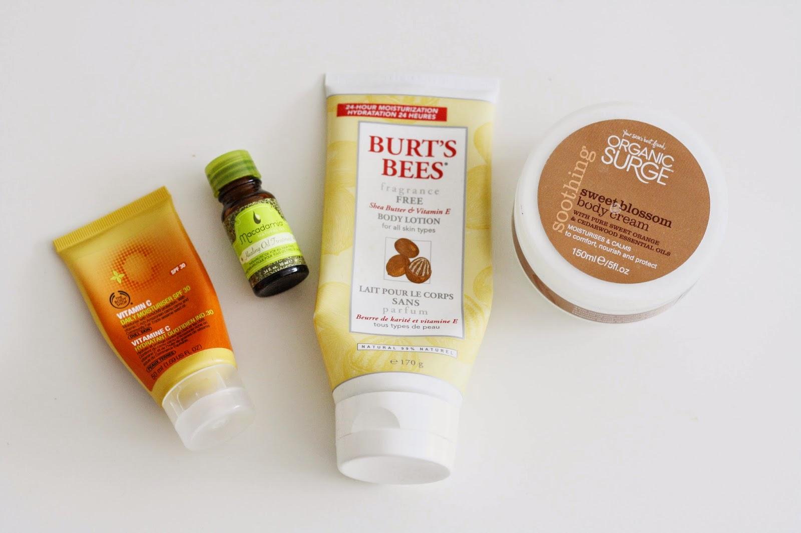 Body Shop Vitamin C Daily Moisturiser, Burt's Bees Body Lotion