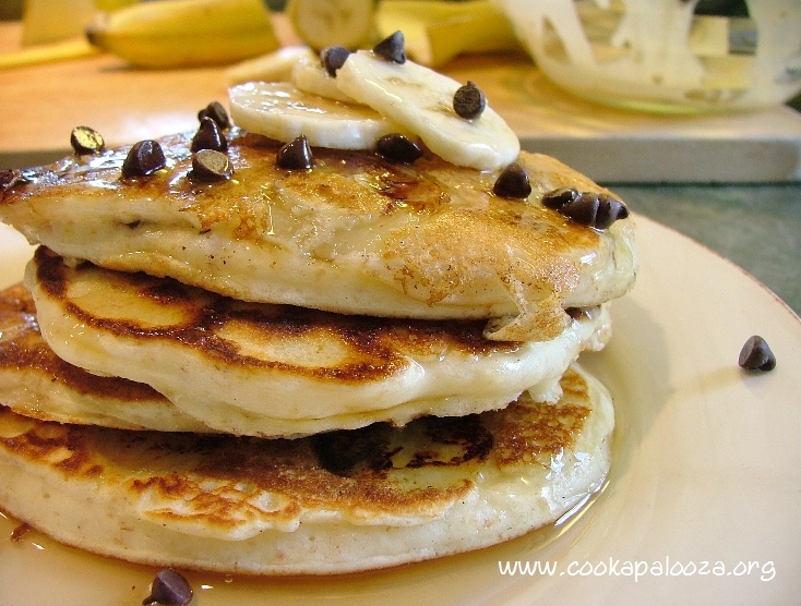 ... when you add mini chocolate chips and banana slices to pancake batter