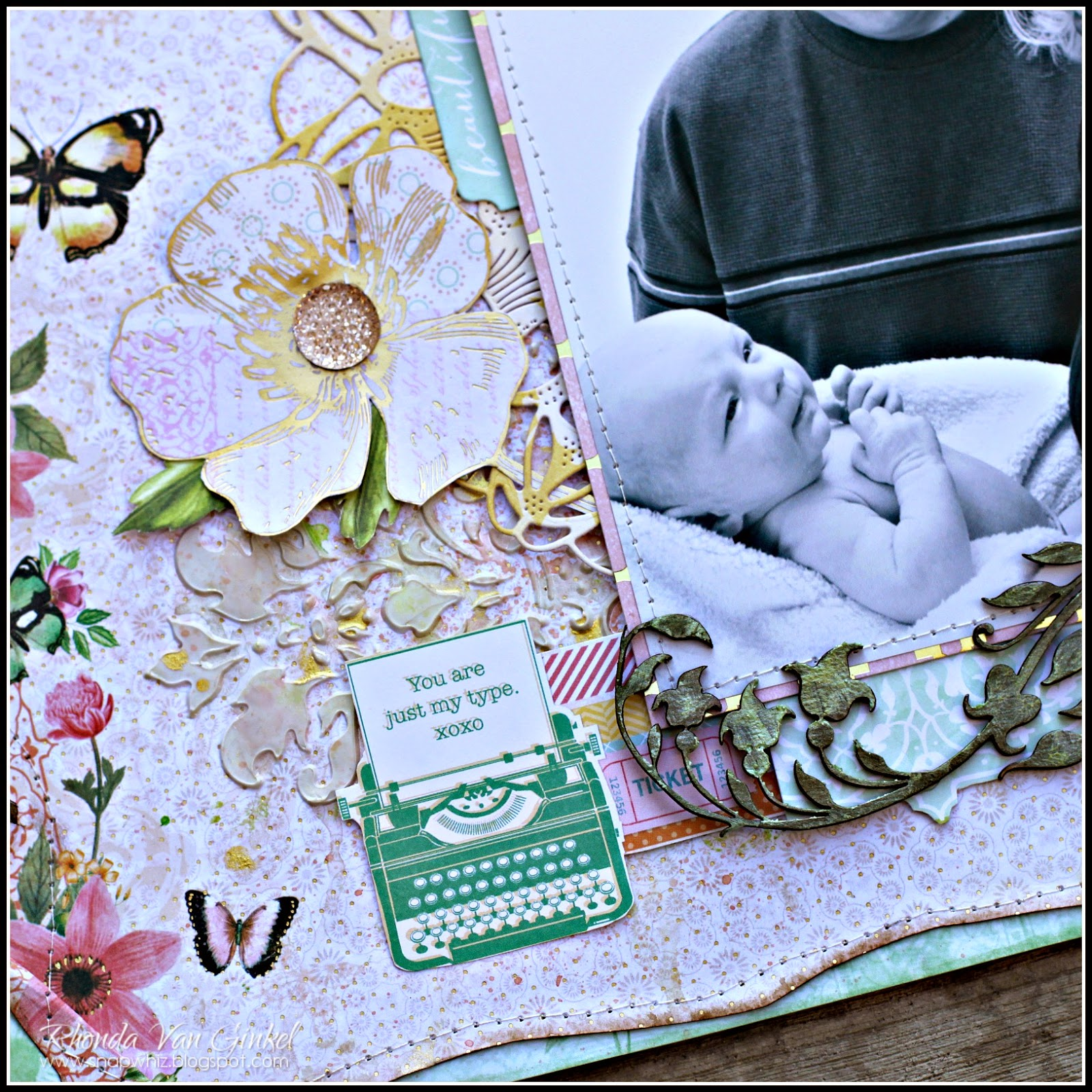Butterfly Kisses Scrapbook Page by Rhonda Van Ginkel for UmWowStudio featuring Damask Mask, Butterfly Kisses Flair
