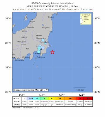 Epicentro sismo 5,5 grados en Japón, 16 de Noviembre 2012