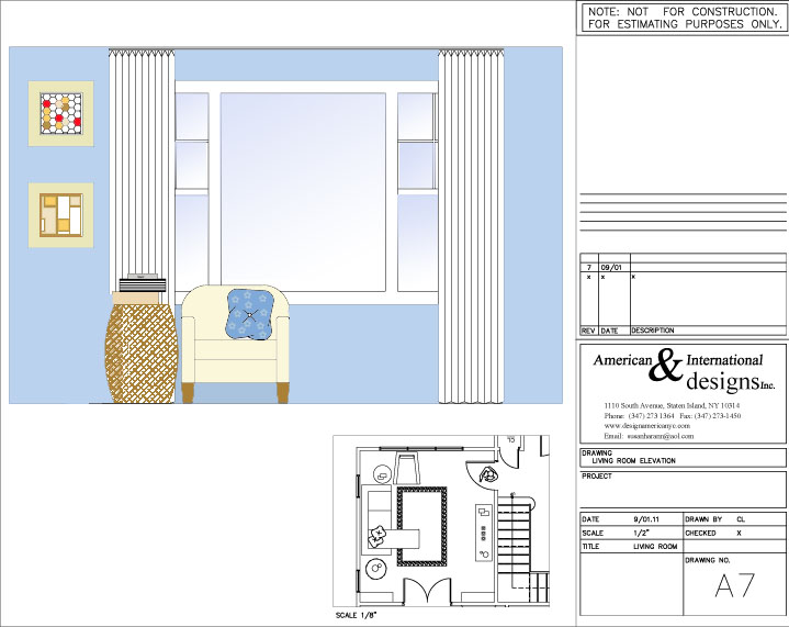 Room elevation drawings for Living room elevation