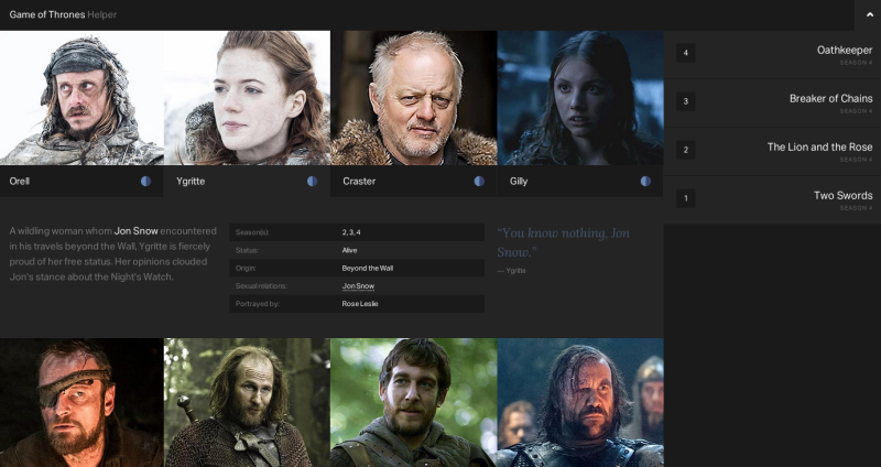 Game of Thrones Helper, a website to understand the series, Game of Thrones, Game of Thrones written on WordStar 4.0, lost with the characters of Westeros, games, Video Game, video games,