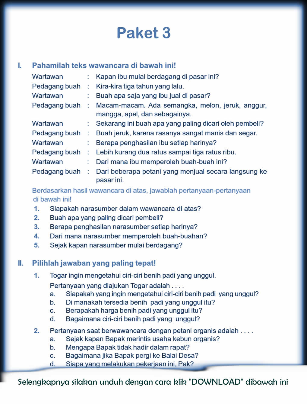 Download Soal Uts Ganjil Bahasa Indonesia Kelas 5 Semester 1 2015 2016 Rief Awa Blog