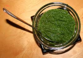 A bowl of mint chutney