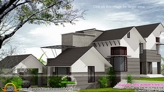 House on sloping plot