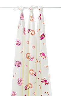 Aden & Anais Baby Swaddles - Pyara Bamboo 3-Pack. Shown in close up.