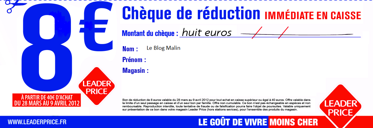 Le blog malin mon leader price de 6 8 de r duction - Code promo valides chez vente privee ...