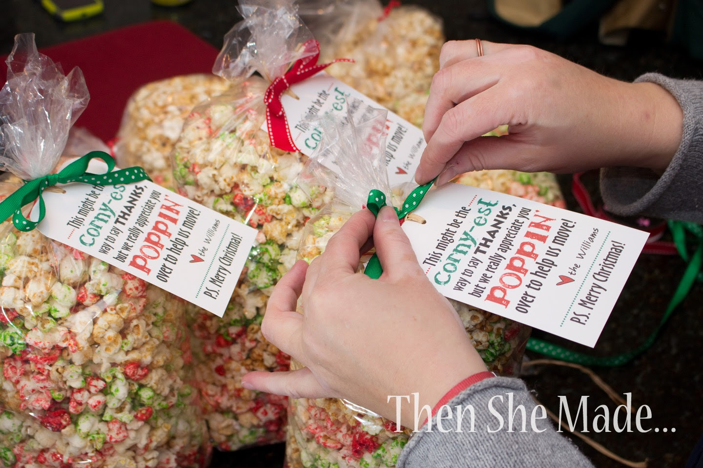 attached the tags using cute ribbon in holiday colors