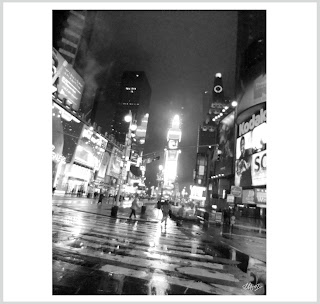 times square in the rain, times square original art, times square limited edition prints, laura hol art, reflected times square, 42nd street art