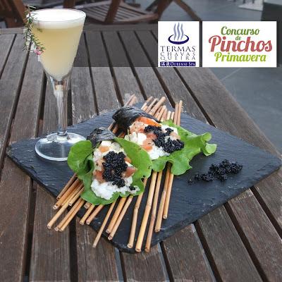 Termas Chavasqueira, Pinchos de primavera, temaki de mozarella y salmón con sawahh de cítricos