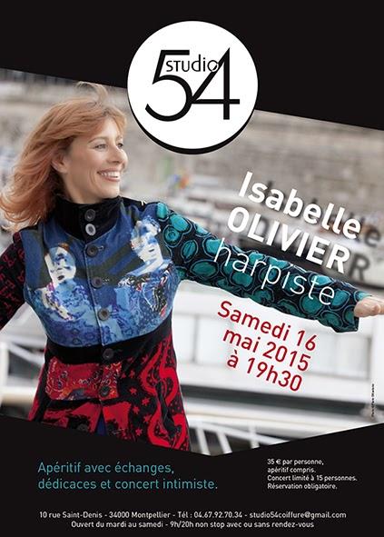 Affiche du concert d'Isabelle Olivier, harpe Jazz au Studio 54 à Montpellier, concert intimiste.