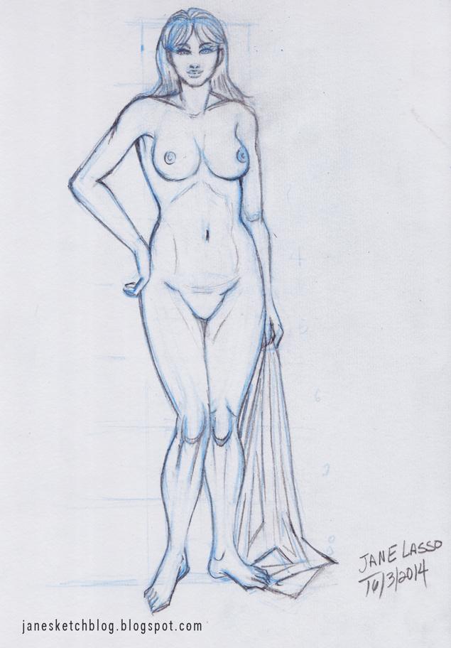 Dibujo de proporciones de mujer , llevando una tela.
