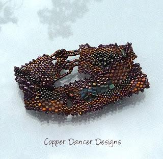 Treasure Chest Freeform Peyote Cuff  by Copper Dancer