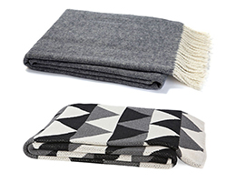 top: herringbone throw ($65), bottom: triangle cotton blended throw ($99)