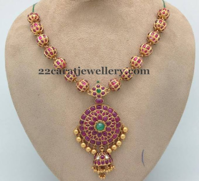 Spinel Rubies Set with Jhumka Locket