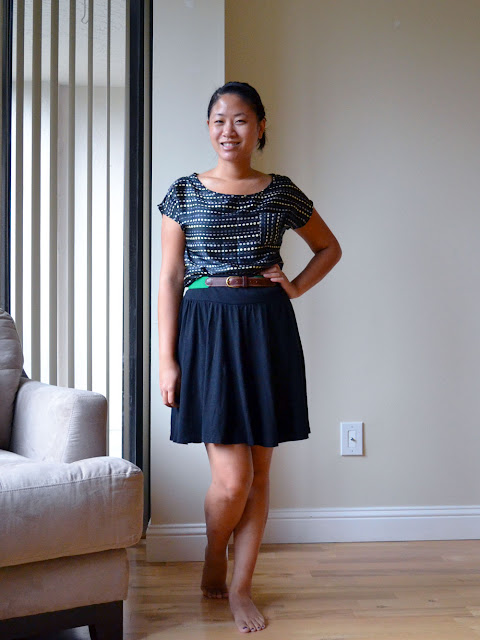 miami fashion blogger angeline evans final touch top old navy skirt goodwill belt