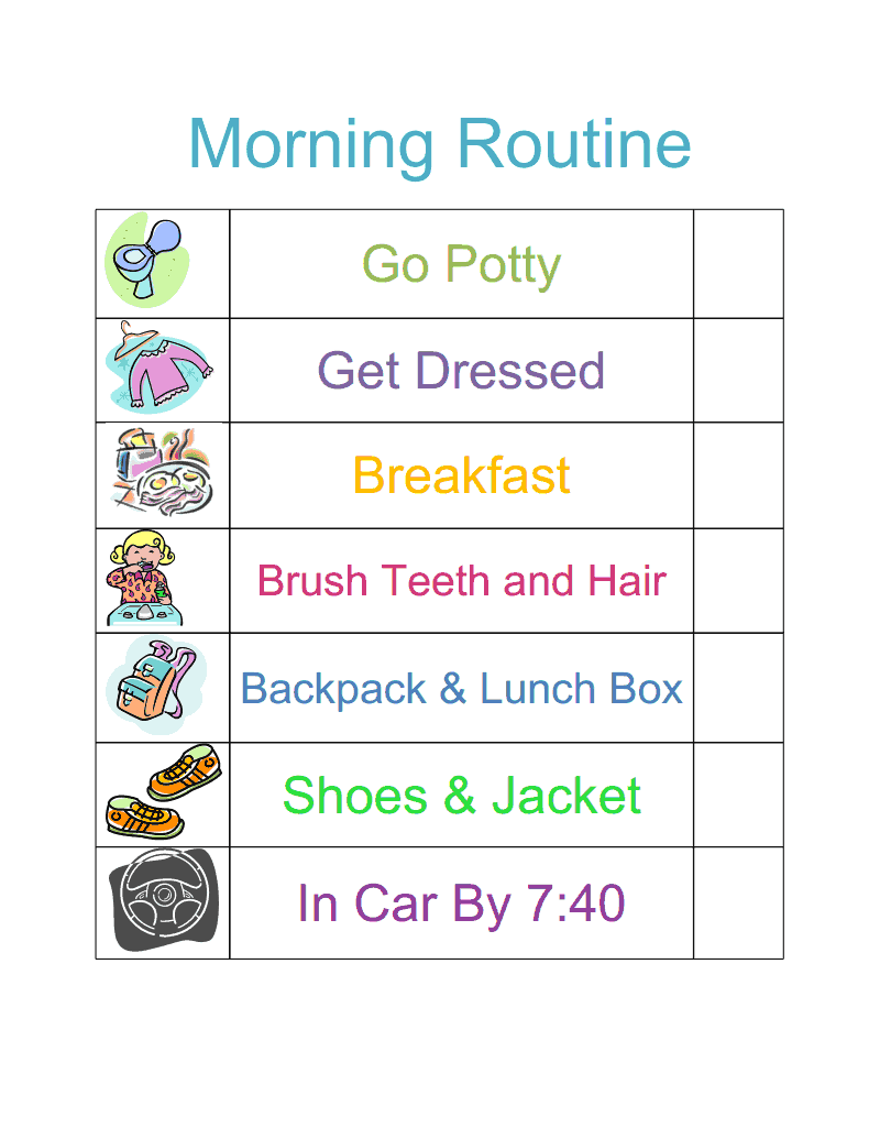 morning routine chart template .