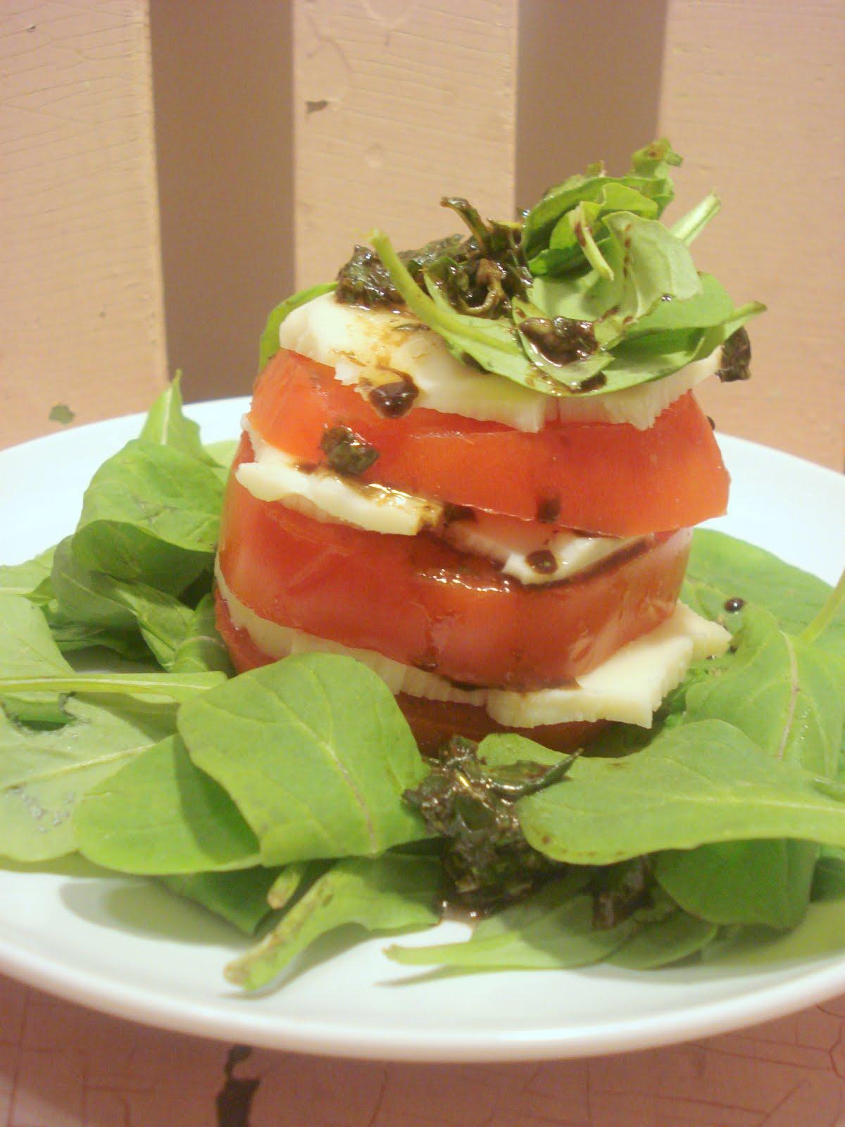 Dame Good Eats: Tomato, Mozzarella and Arugula Towers