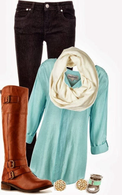 Fall Outfit With Light Blue Shirt and Long Boots