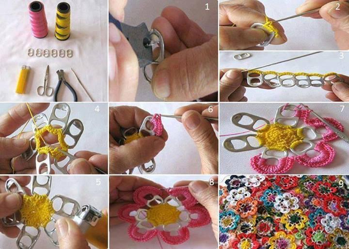 creatief met ciska bloem haken van blikje lipjes. Black Bedroom Furniture Sets. Home Design Ideas