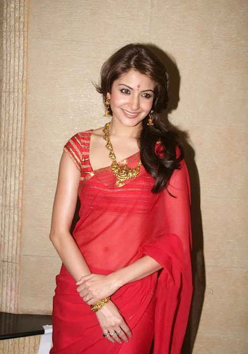 anushka sharma looking in red saree actress pics
