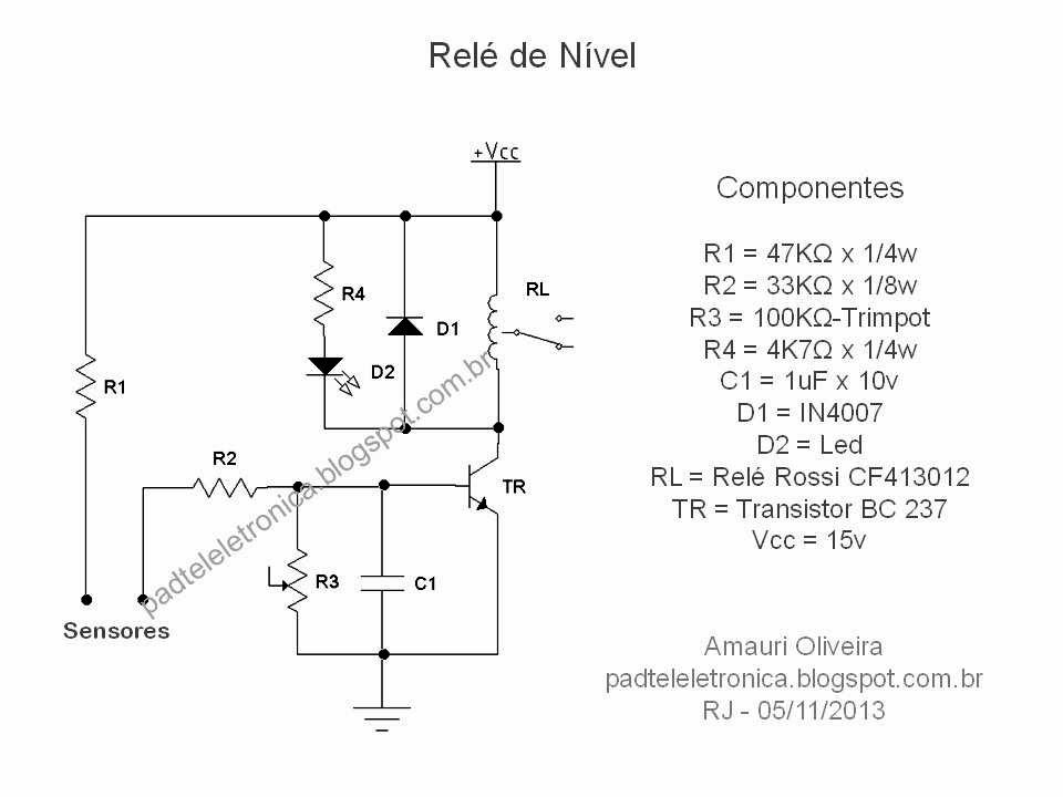 Circuito Eletronico : Engº amauri oliveira relé de nível circuito eletrônico