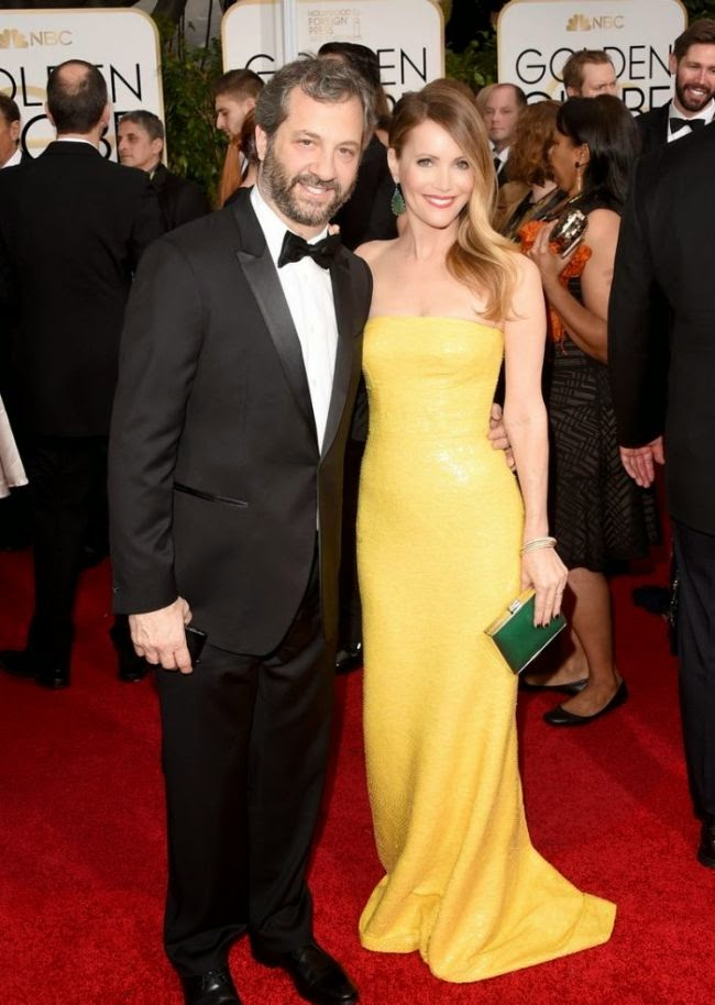 Leslie Mann is on draft as she walked with husband, Judd Apatow into the red carpet at Los Angeles, CA, USA on Sunday, January 11, 2015.