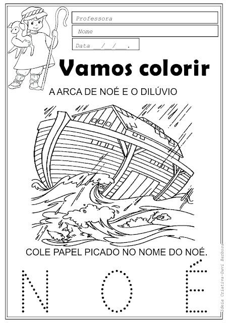 Desenho da Araca de Noé e o dilúvio para colorir