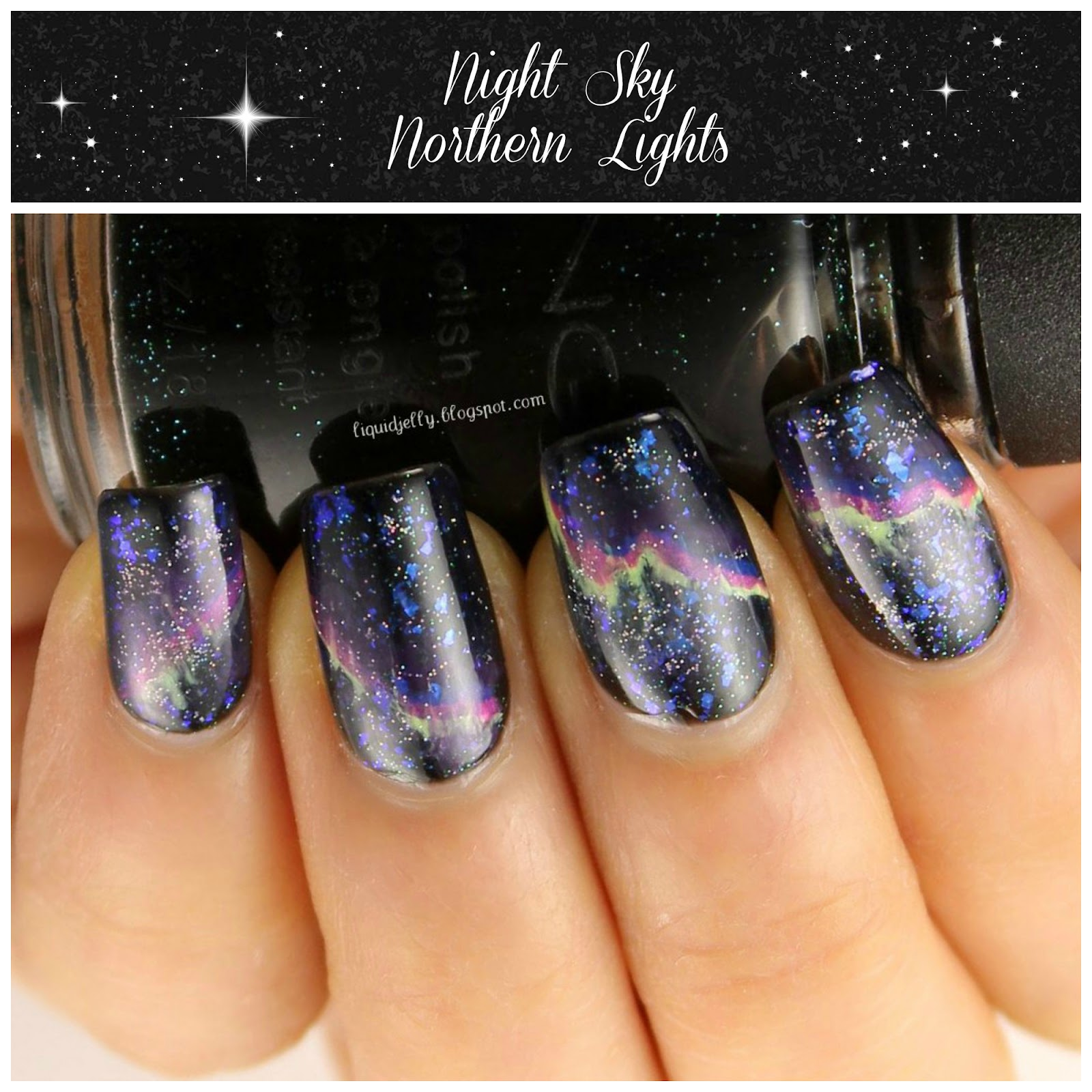Liquid Jelly: [Nail-Art-A-Go-Go] Day 10: Night Sky
