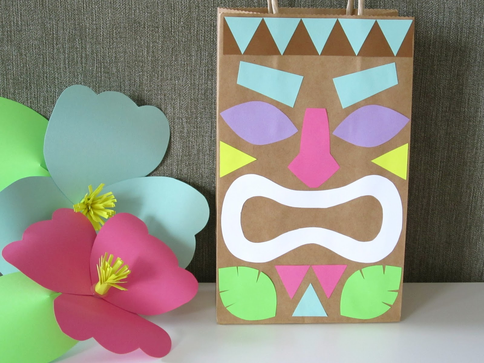Homemade Luau Party Paper Bag Tiki Guy!: design sprinkle