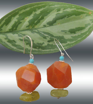 Red Tangerine Carnelian Blue Green Turquoise Jade Dangle Drop Trendy Earrings L