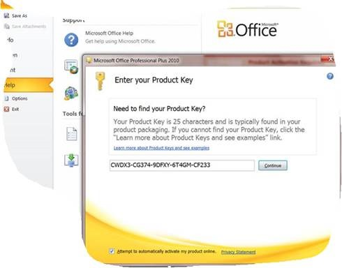 office 2010 install product key