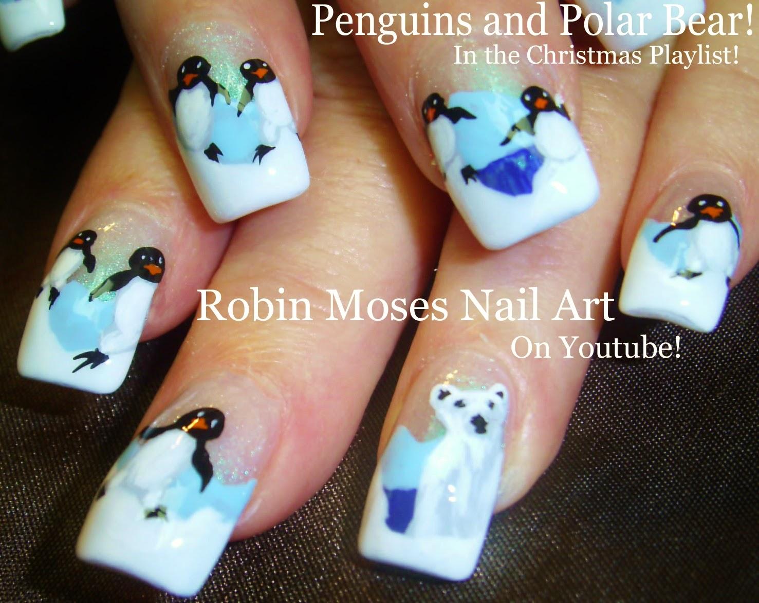 Nail Art Tutorial Christmas Diy Polar Bear And Penguins
