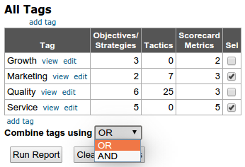 Selecting multiple tags for reporting